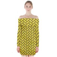 Brick2 Black Marble & Gold Glitter (r) Long Sleeve Off Shoulder Dress