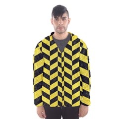 Chevron1 Black Marble & Gold Glitter Hooded Wind Breaker (men)