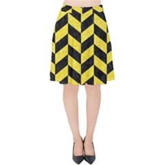 Chevron1 Black Marble & Gold Glitter Velvet High Waist Skirt