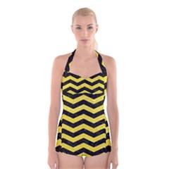 Chevron3 Black Marble & Gold Glitter Boyleg Halter Swimsuit
