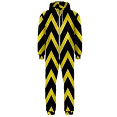 Chevron9 Black Marble & Gold Glittere & Gold Glitter Hooded Jumpsuit (men)