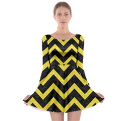 Chevron9 Black Marble & Gold Glittere & Gold Glitter Long Sleeve Skater Dress