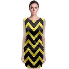 Chevron9 Black Marble & Gold Glittere & Gold Glitter Classic Sleeveless Midi Dress