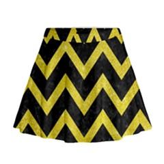 Chevron9 Black Marble & Gold Glittere & Gold Glitter Mini Flare Skirt