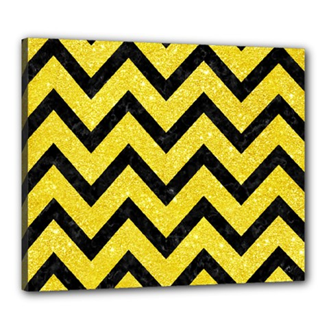 Chevron9 Black Marble & Gold Glitter (r) Canvas 24  X 20
