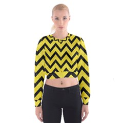 Chevron9 Black Marble & Gold Glitter (r) Cropped Sweatshirt