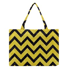 Chevron9 Black Marble & Gold Glitter (r) Medium Tote Bag