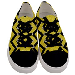 Chevron9 Black Marble & Gold Glitter (r) Men s Low Top Canvas Sneakers