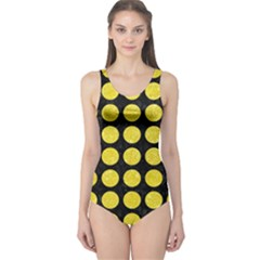 Circles1 Black Marble & Gold Glitter One Piece Swimsuit