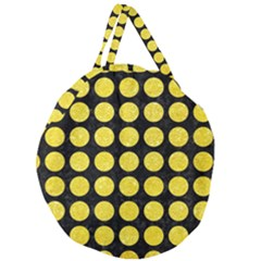 Circles1 Black Marble & Gold Glitter Giant Round Zipper Tote