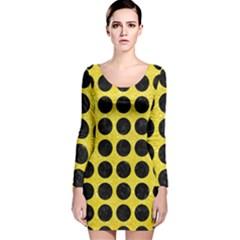 Circles1 Black Marble & Gold Glitter (r) Long Sleeve Velvet Bodycon Dress