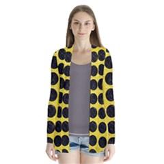 Circles1 Black Marble & Gold Glitter (r) Drape Collar Cardigan