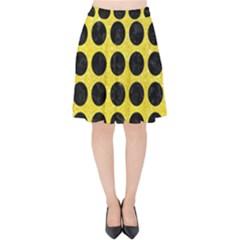 Circles1 Black Marble & Gold Glitter (r) Velvet High Waist Skirt