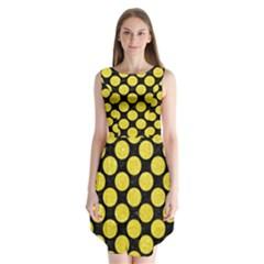 Circles2 Black Marble & Gold Glitter Sleeveless Chiffon Dress