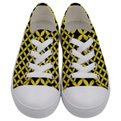 Circles3 Black Marble & Gold Glitter Kids  Low Top Canvas Sneakers
