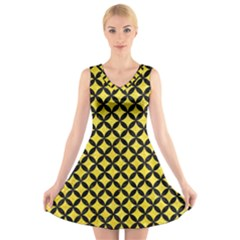 Circles3 Black Marble & Gold Glitter (r) V Neck Sleeveless Skater Dress