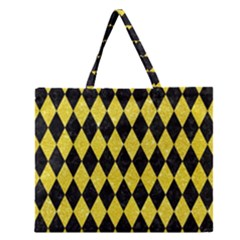Diamond1 Black Marble & Gold Glitter Zipper Large Tote Bag