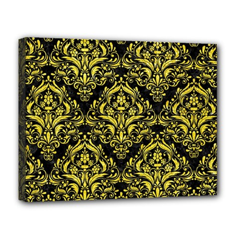 Damask1 Black Marble & Gold Glitter Canvas 14  X 11
