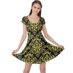 Damask1 Black Marble & Gold Glitter Cap Sleeve Dress