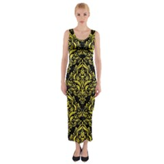 Damask1 Black Marble & Gold Glitter Fitted Maxi Dress