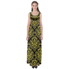 Damask1 Black Marble & Gold Glitter Empire Waist Maxi Dress