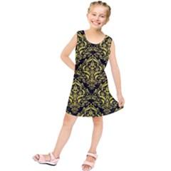 Damask1 Black Marble & Gold Glitter Kids  Tunic Dress
