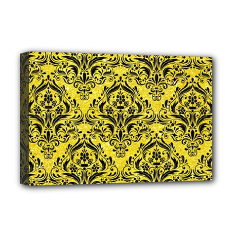 Damask1 Black Marble & Gold Glitter (r) Deluxe Canvas 18  X 12
