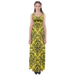 Damask1 Black Marble & Gold Glitter (r) Empire Waist Maxi Dress