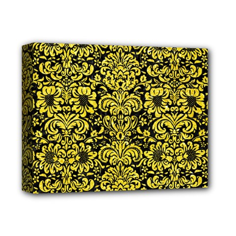 Damask2 Black Marble & Gold Glitter Deluxe Canvas 14  X 11
