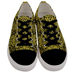 Damask2 Black Marble & Gold Glitter Men s Low Top Canvas Sneakers