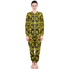 Damask2 Black Marble & Gold Glitter (r) Onepiece Jumpsuit (ladies)
