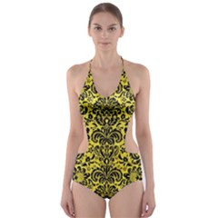 Damask2 Black Marble & Gold Glitter (r) Cut Out One Piece Swimsuit
