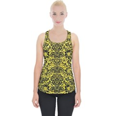 Damask2 Black Marble & Gold Glitter (r) Piece Up Tank Top