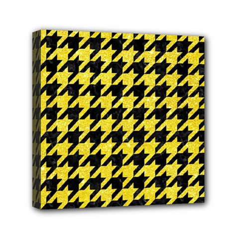 Houndstooth1 Black Marble & Gold Glitter Mini Canvas 6  X 6
