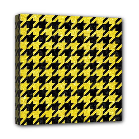 Houndstooth1 Black Marble & Gold Glitter Mini Canvas 8  X 8