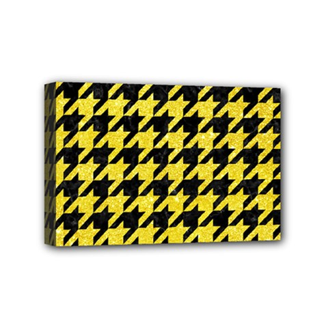 Houndstooth1 Black Marble & Gold Glitter Mini Canvas 6  X 4
