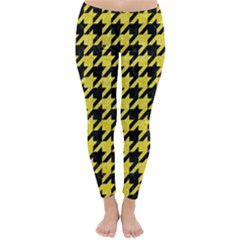 Houndstooth1 Black Marble & Gold Glitter Classic Winter Leggings
