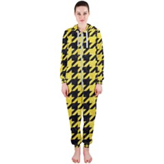 Houndstooth1 Black Marble & Gold Glitter Hooded Jumpsuit (ladies)
