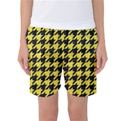 Houndstooth1 Black Marble & Gold Glitter Women s Basketball Shorts