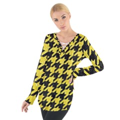 Houndstooth1 Black Marble & Gold Glitter Tie Up Tee