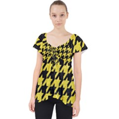 Houndstooth1 Black Marble & Gold Glitter Lace Front Dolly Top