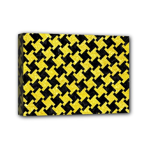 Houndstooth2 Black Marble & Gold Glitter Mini Canvas 7  X 5