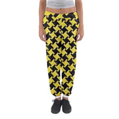 Houndstooth2 Black Marble & Gold Glitter Women s Jogger Sweatpants