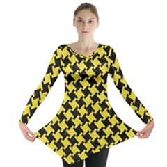 Houndstooth2 Black Marble & Gold Glitter Long Sleeve Tunic