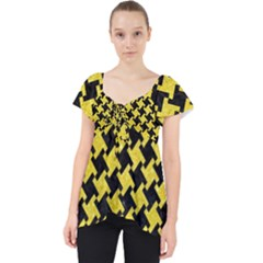 Houndstooth2 Black Marble & Gold Glitter Lace Front Dolly Top