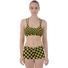 Houndstooth2 Black Marble & Gold Glitter Women s Sports Set