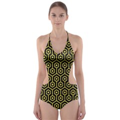 Hexagon1 Black Marble & Gold Glitter Cut Out One Piece Swimsuit