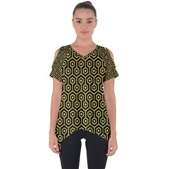 Hexagon1 Black Marble & Gold Glitter Cut Out Side Drop Tee