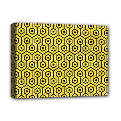 Hexagon1 Black Marble & Gold Glitter (r) Deluxe Canvas 16  X 12
