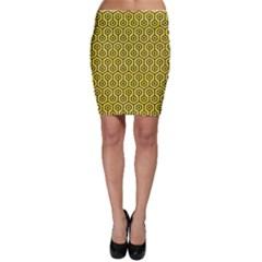 Hexagon1 Black Marble & Gold Glitter (r) Bodycon Skirt